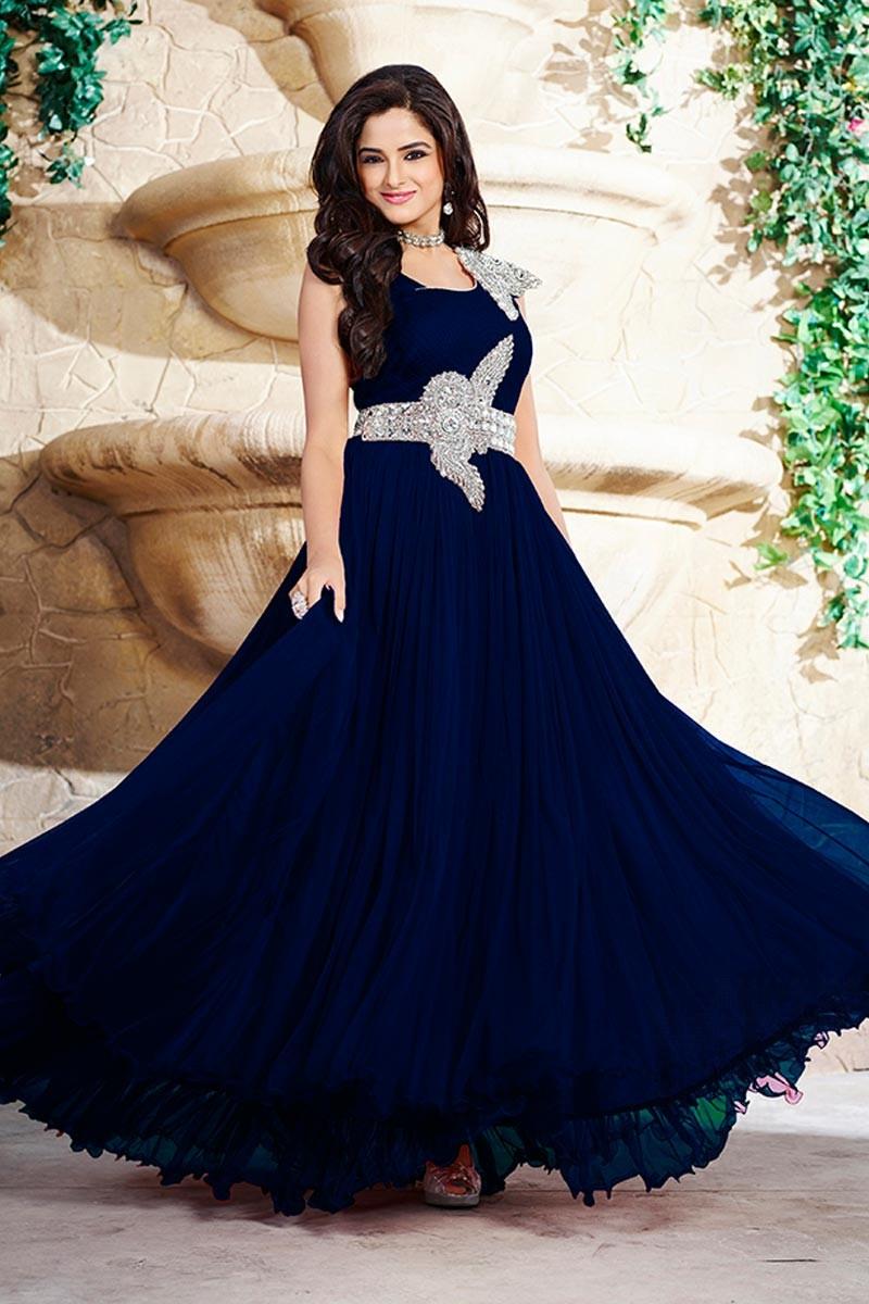 Discount latest navy blue Georgette Gown clothes - Dmv15002