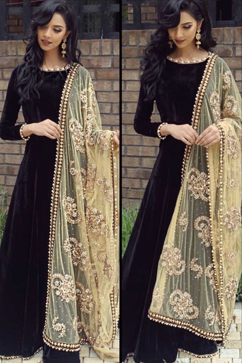 bdabf445c98 Readymade Black Velvet Anarkali Suit With Dupatta Online - DMV14993