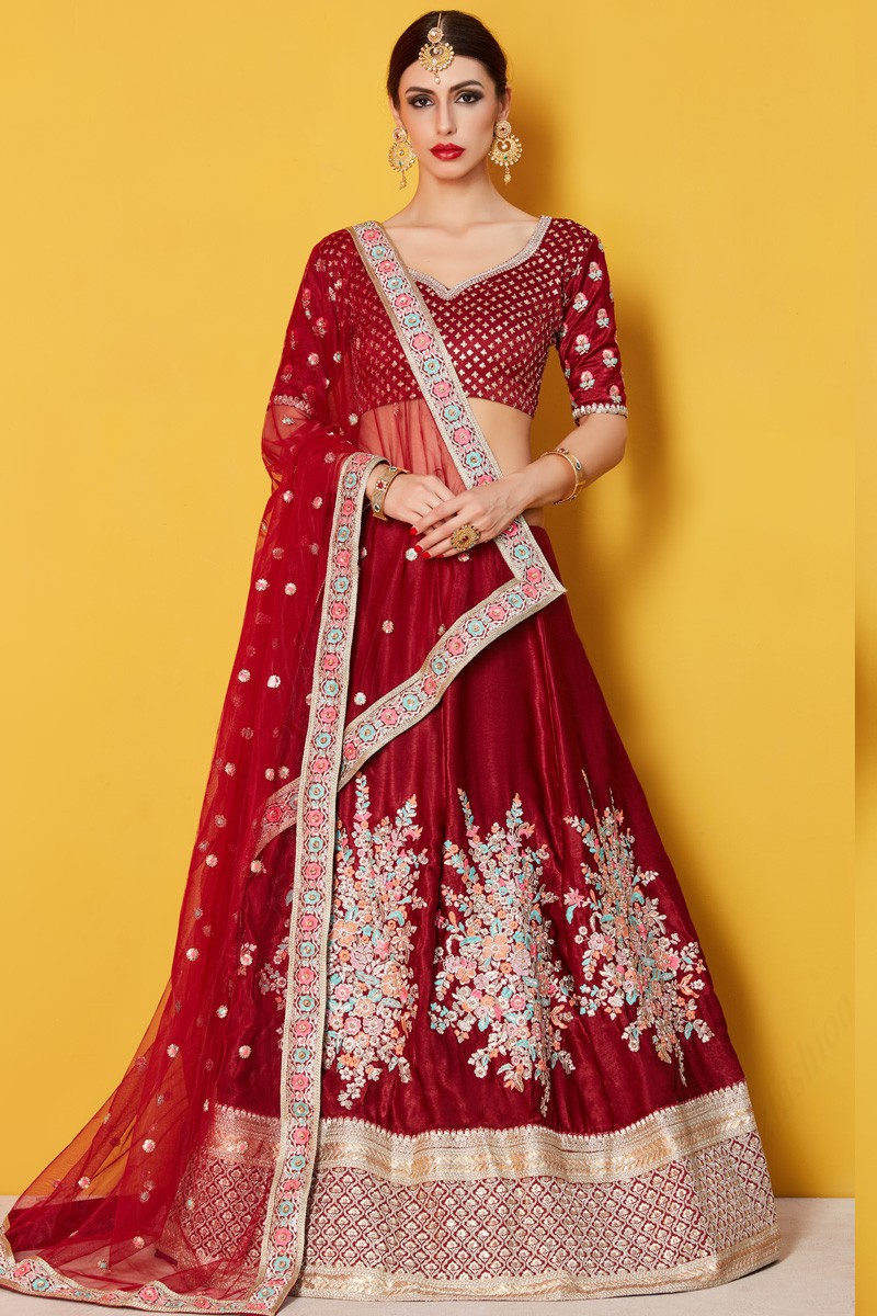 f8861c932c2 Thumbnail Image of Red Soft net Lehenga with Velvet Choli Display Gallery  Item 1 ...