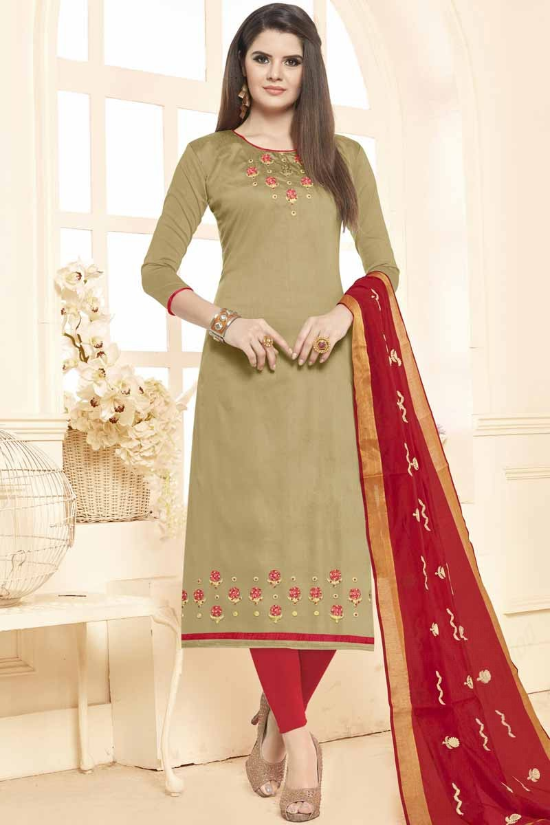 f6921dc233 Thumbnail Image of Light Olive Green Cotton Churidar Suit Display Gallery  Item 1 ...