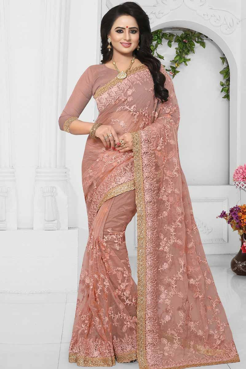 6edb3ab8037f2 Thumbnail Image of Light Pink Net Saree With Silk Blouse Display Gallery  Item 1 ...