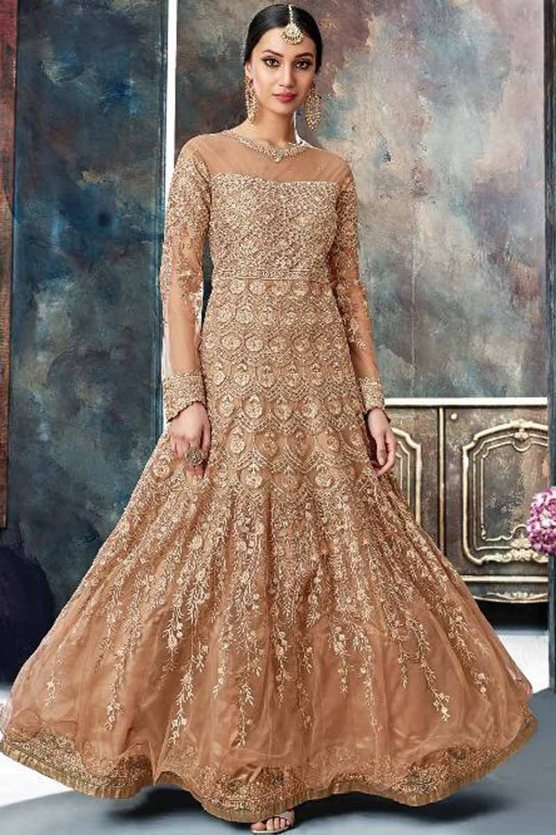 d071bcb6694 Thumbnail Image of Lovely Net Caramel Color Anarkali Gown Display Gallery  Item 1 ...