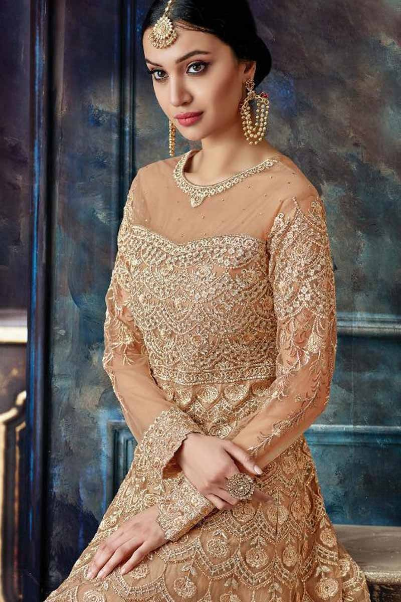 254954f54f9 Buy Lovely Net Caramel Color Anarkali Gown Online - LSTV01991 ...