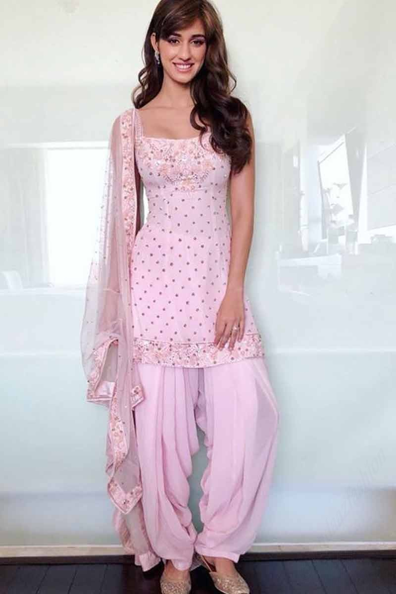 Buy Blush Pink Georgette Patiala Suit With Stone Work Online Lstv02509 Andaaz Fashion Eid Store