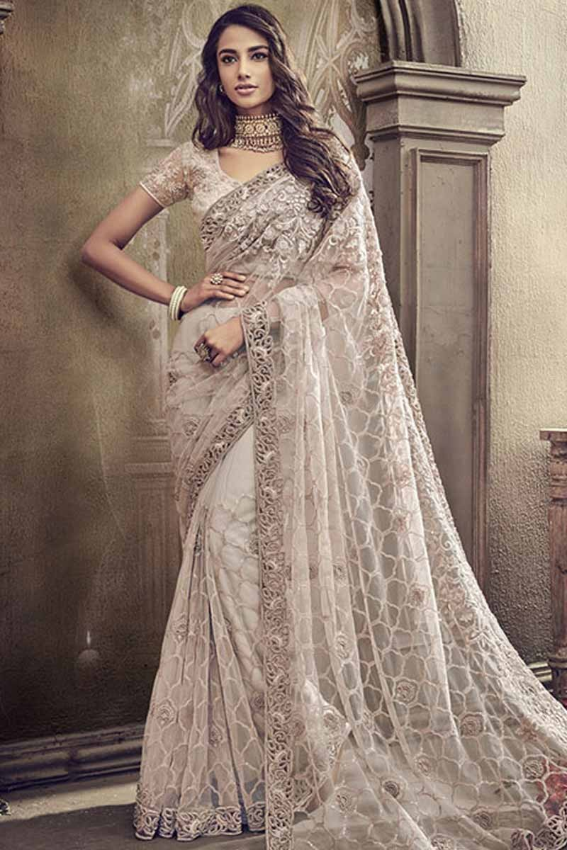 f5a3df43aa Buy Moon Grey Net Saree With Net Blouse Online - SARV01416 | Andaaz ...