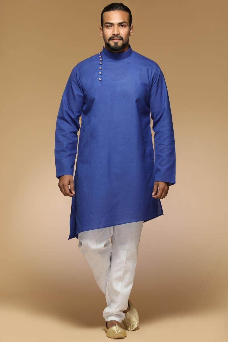 Men Blue Solid Straight Kurta Pajama