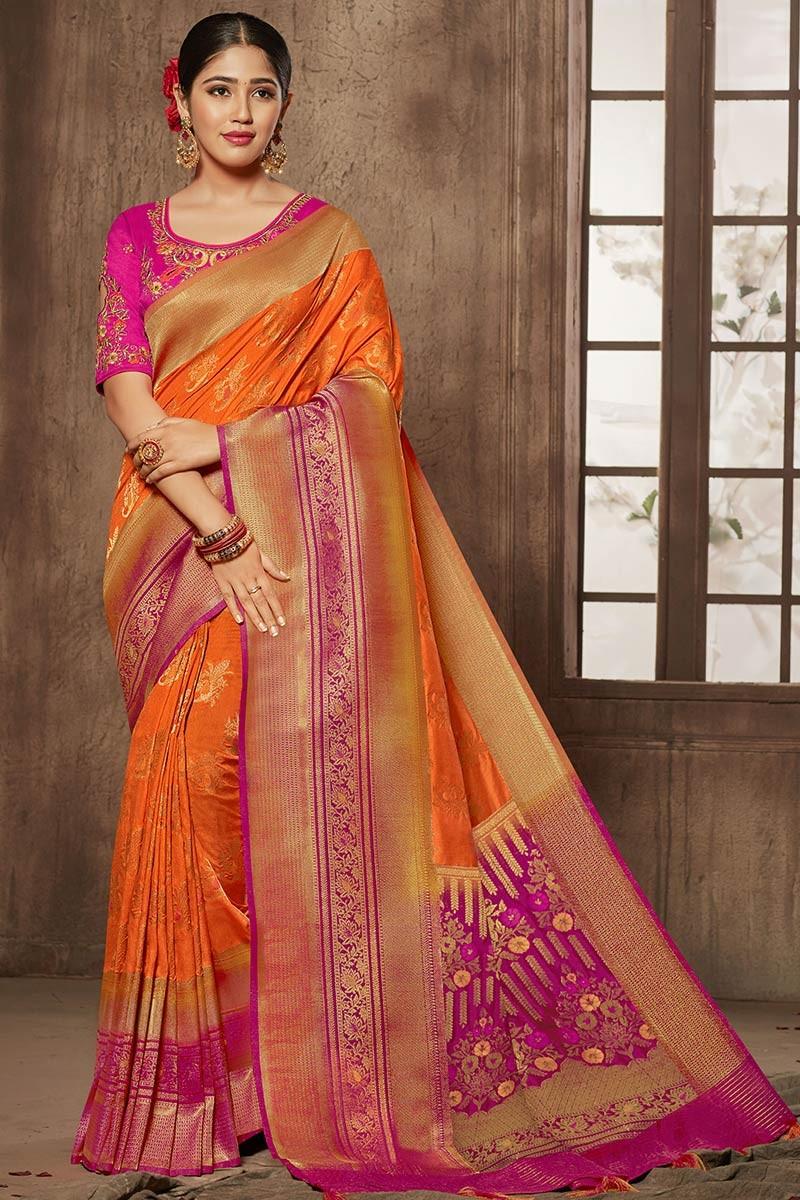 Buy Orange Bhagalpuri Silk Saree With Silk Blouse Online - SARV03341   Andaaz Fashion