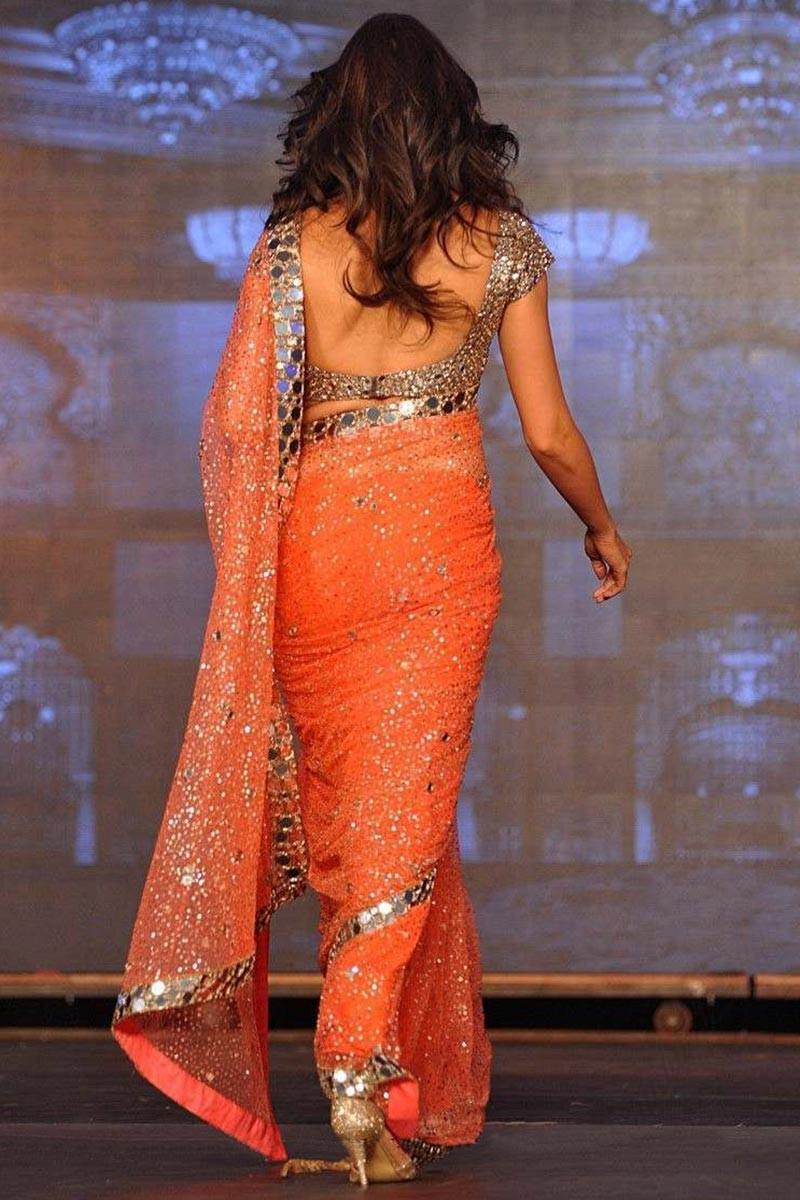 Buy Deepika Padukone Orange Net Mirror Work Saree With Sequence Blouse Online Dmv8864
