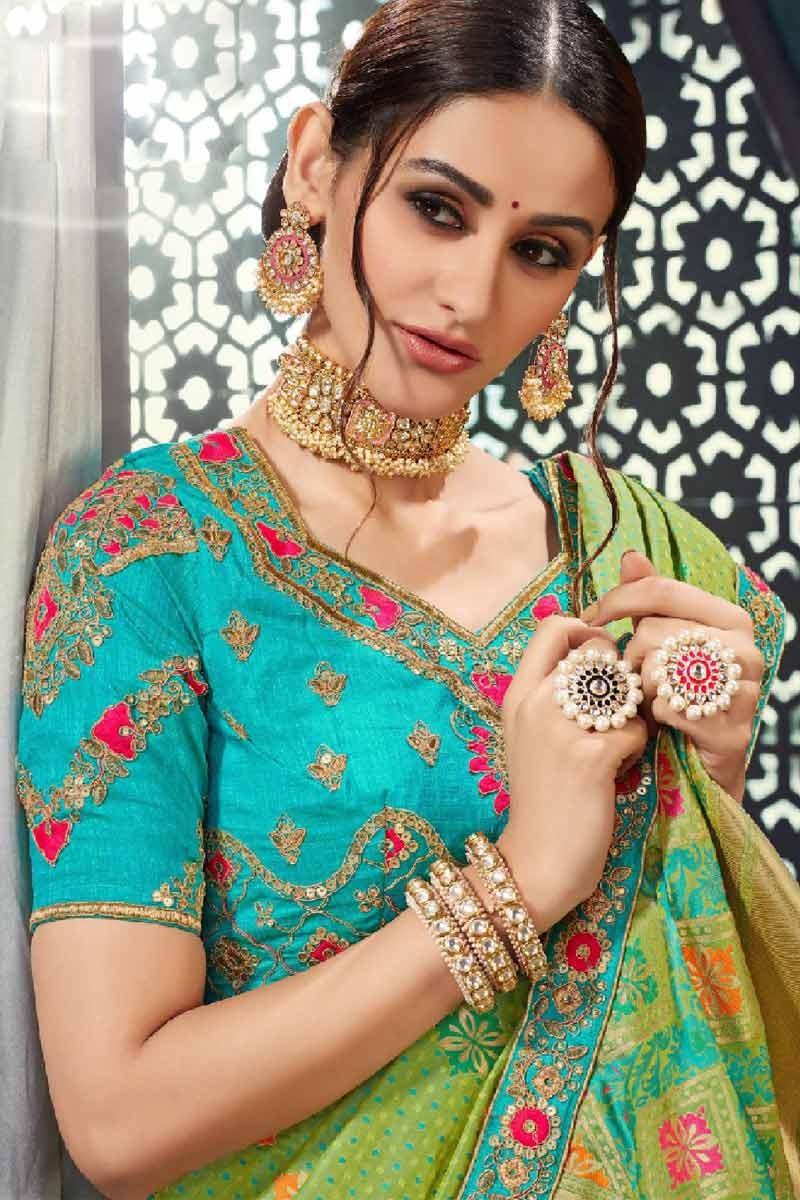 Parrot Green Bhagalpuri Silk Saree With Banglori Silk Blouse