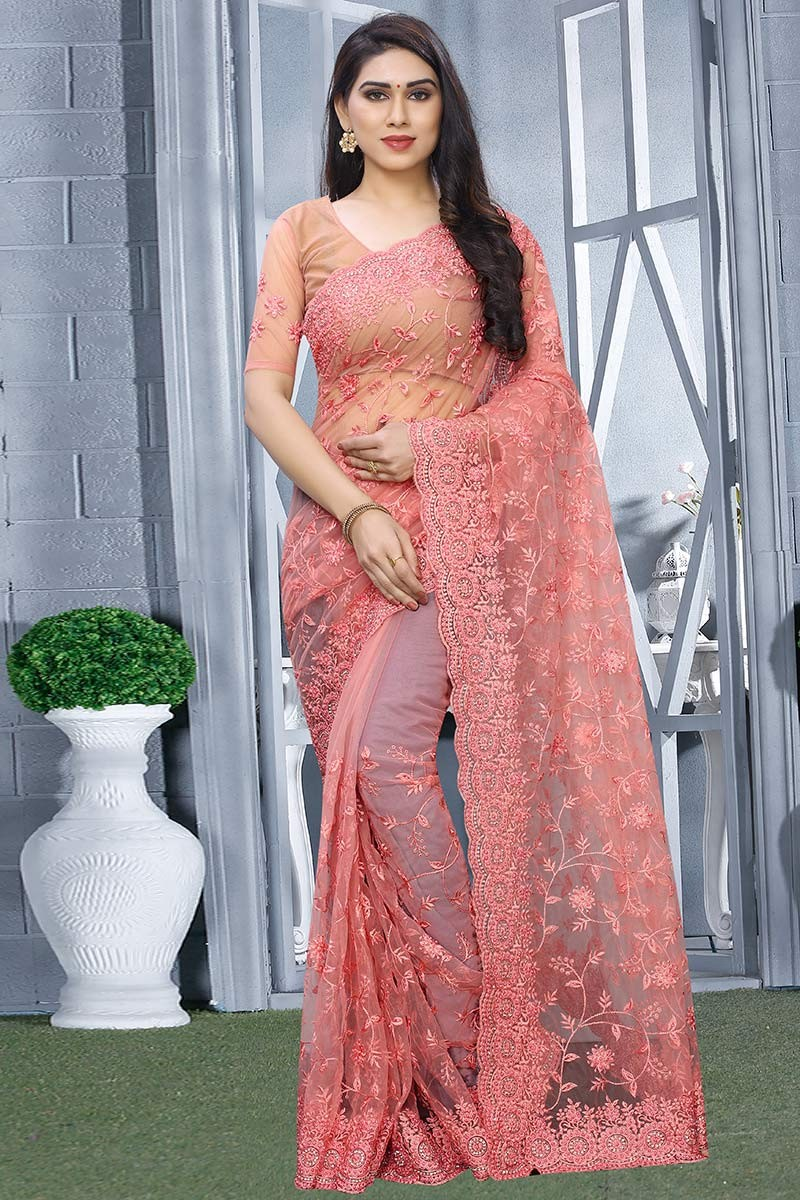 Buy Net Party Wear Saree In Coral Pink Colour Online Sarv03535 Andaaz Fashion