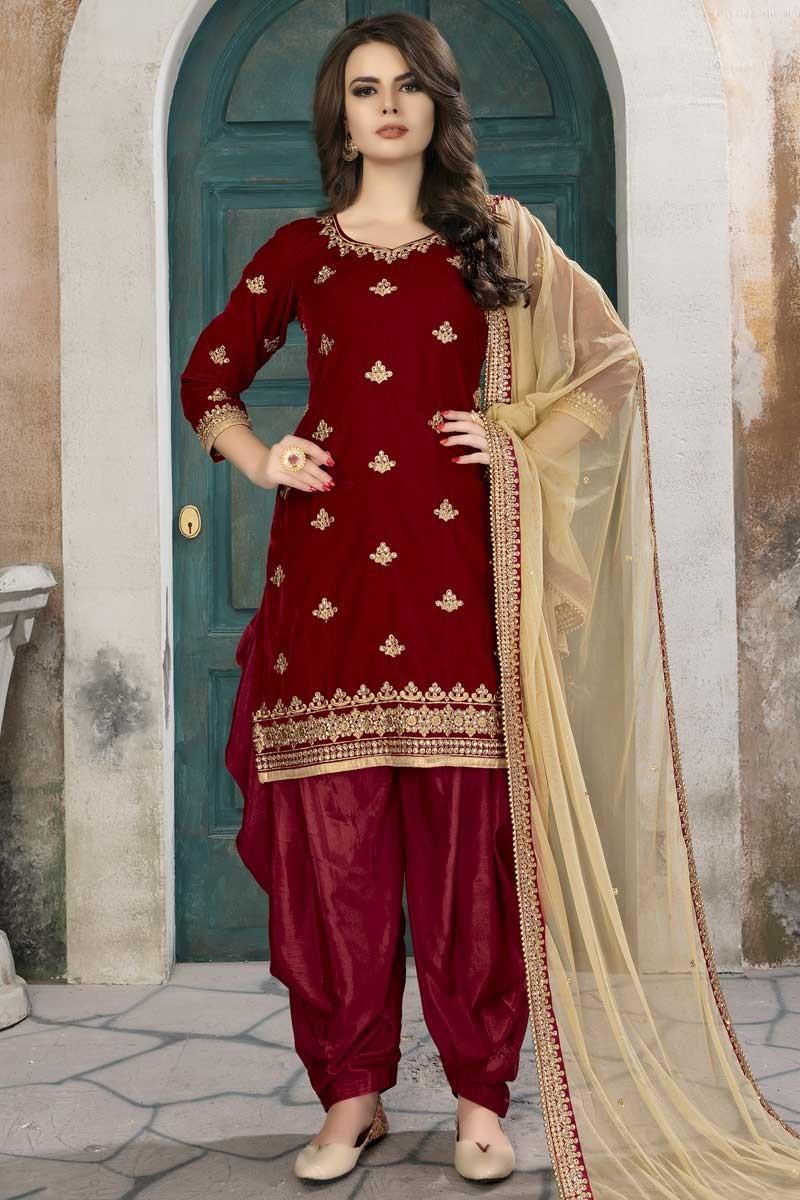 b4192036d2 Buy Attractive Velvet Patiala Suits In Red Color Online - lstv0494 ...