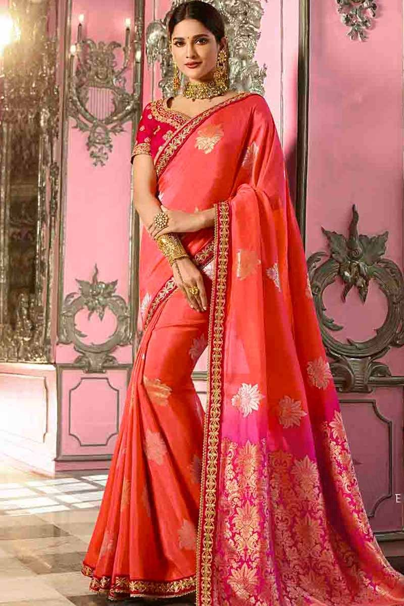 793c290385b7c1 Thumbnail Image of Peach Banarasi Silk Saree With Blouse Display Gallery  Item 1 ...