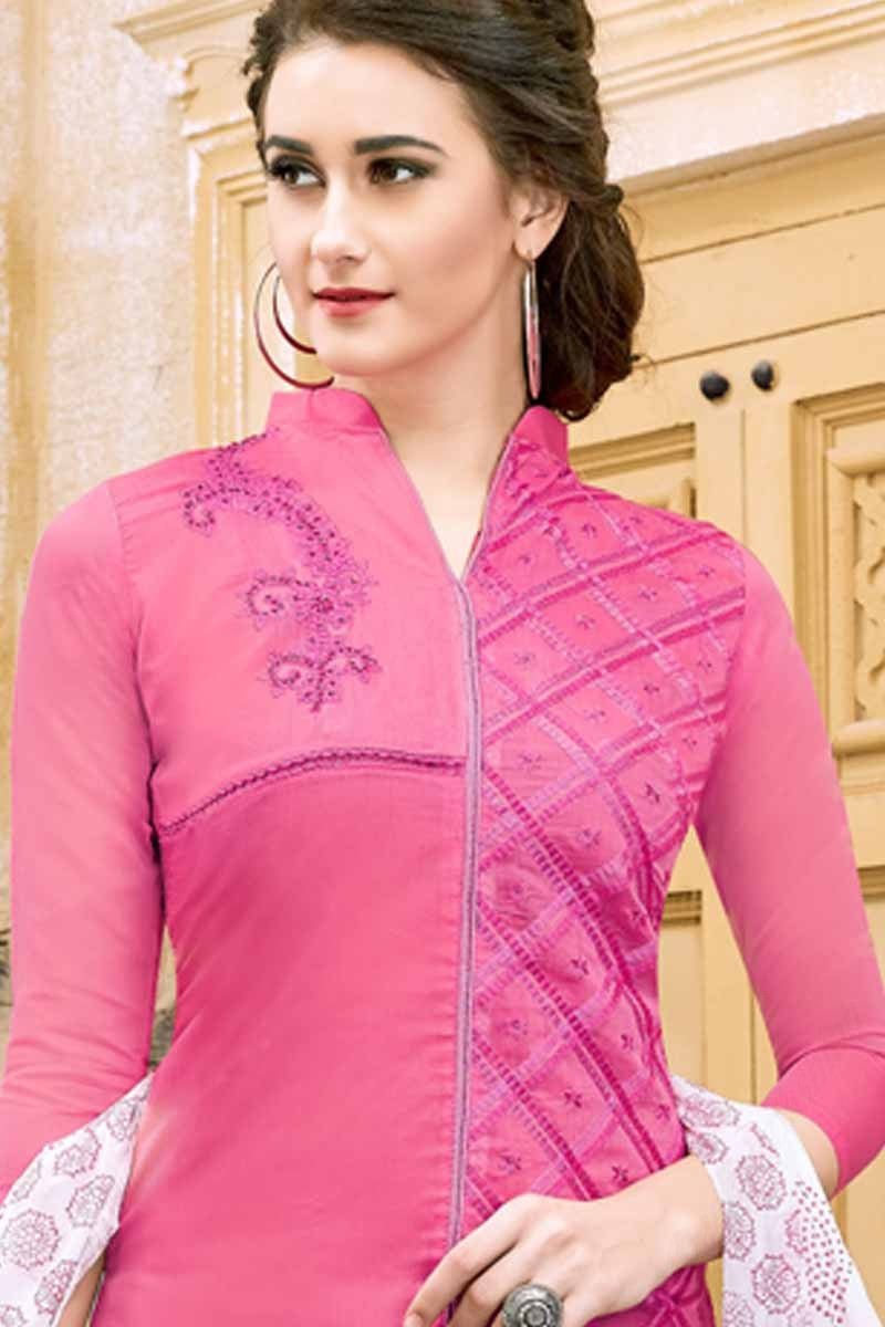 f75fc7dc09 Buy Luxurious Pink Cotton Churidar Suit With Hand Work Online ...