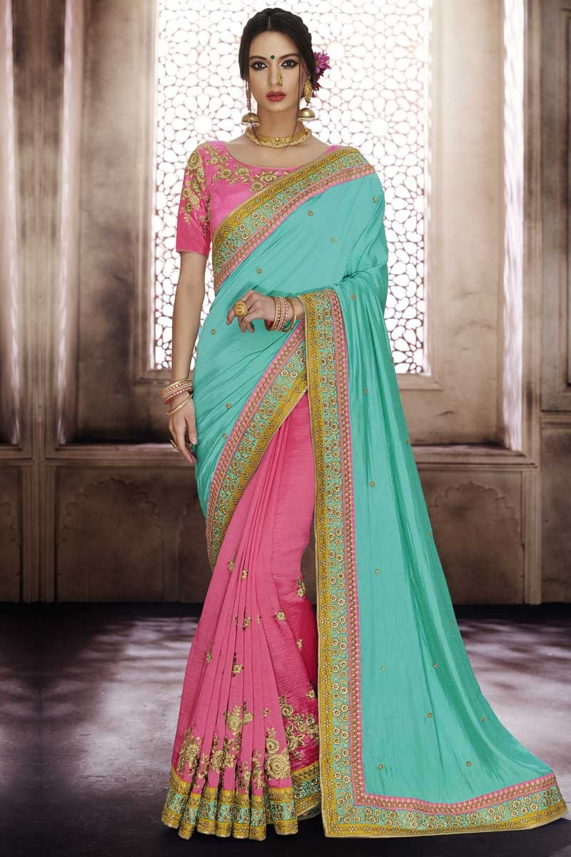 82080c5fb7ad2 Buy Ferozi Color Satin Silk Saree With Pink Blouse Online - SARV0276 ...