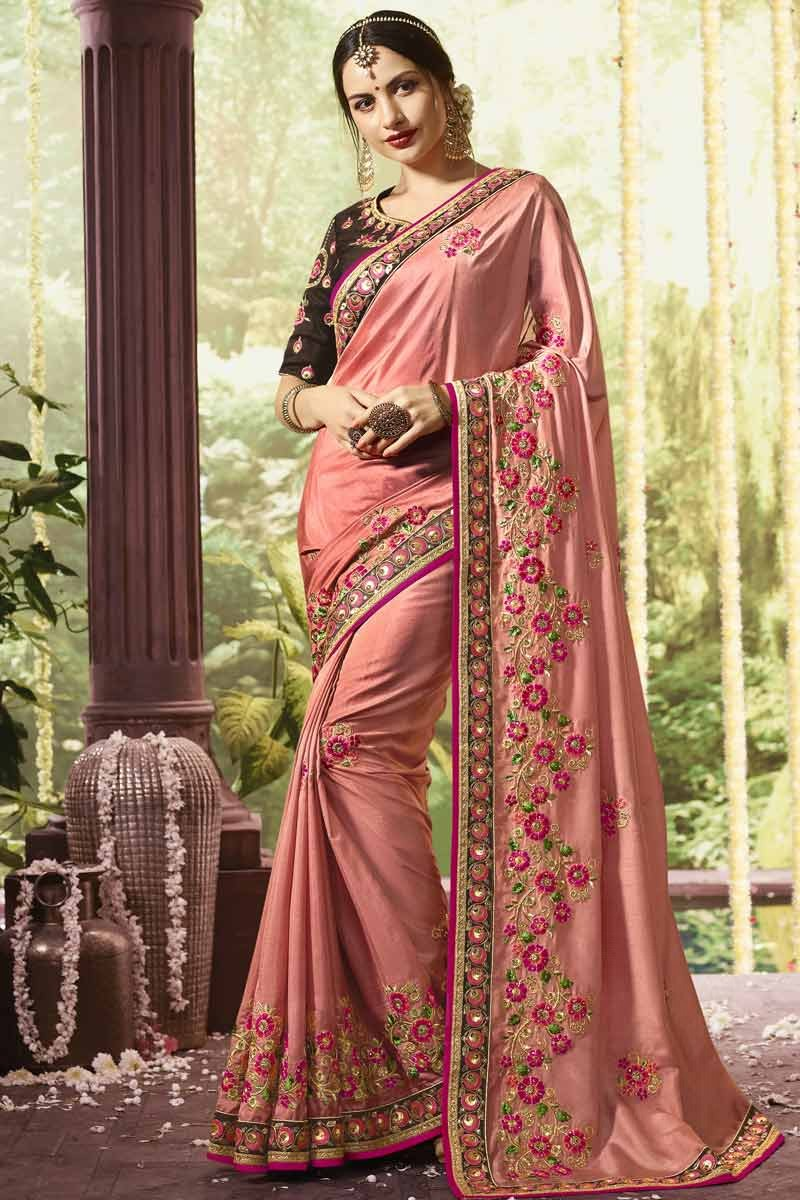 35a4f94445 ... Dola Silk Saree with Brown Colour Blouse Display Gallery Item 1 ...