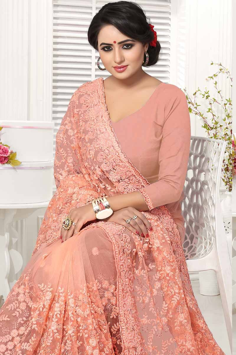 572f21f747 Buy Saree Shops Online Pink Net Festival Indian Sarees Sweet Heart ...