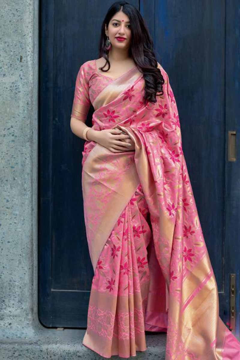 8ad4e3282 Thumbnail Image of Pink Saree With Silk Blouse Display Gallery Item 1 ...