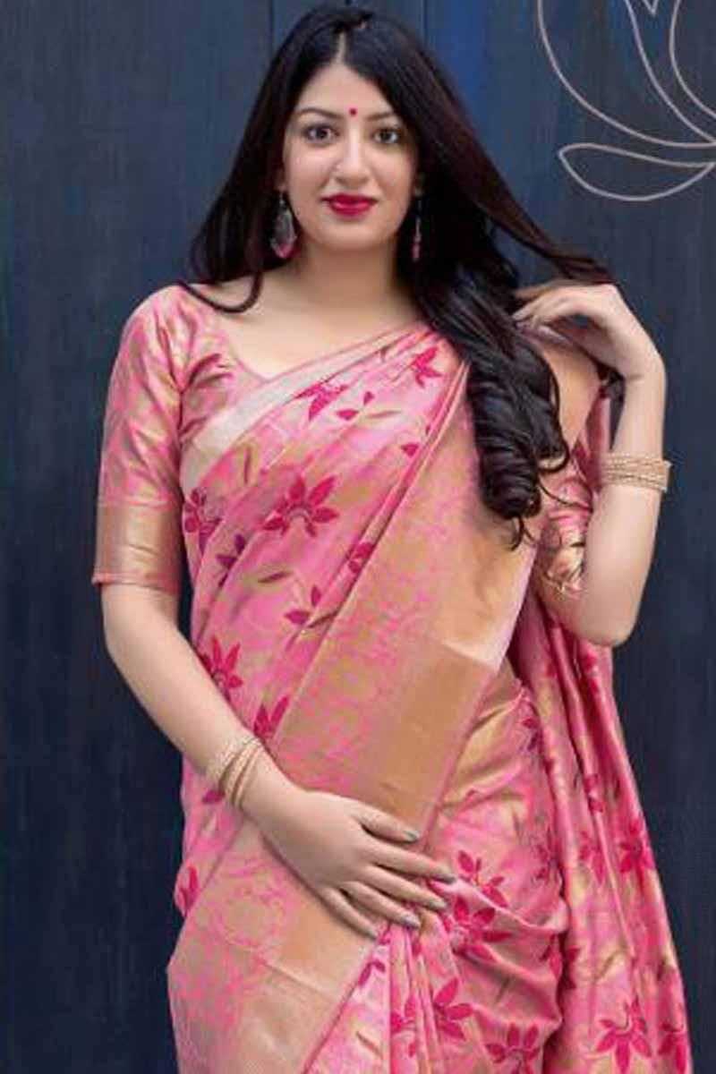 31e2d23dbee0b Buy Pink Saree With Silk Blouse - SARV01161
