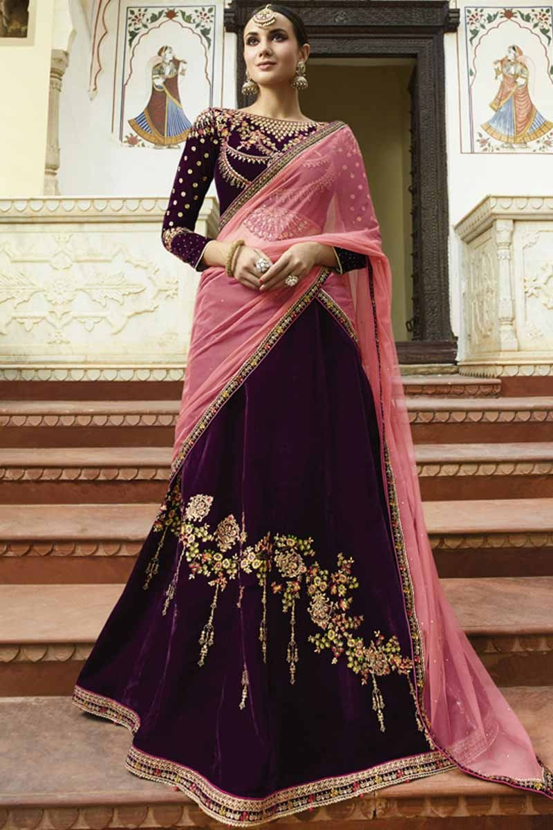 063043ed55 Thumbnail Image of Purple Silk Lehenga with Silk Choli Display Gallery Item  1 ...