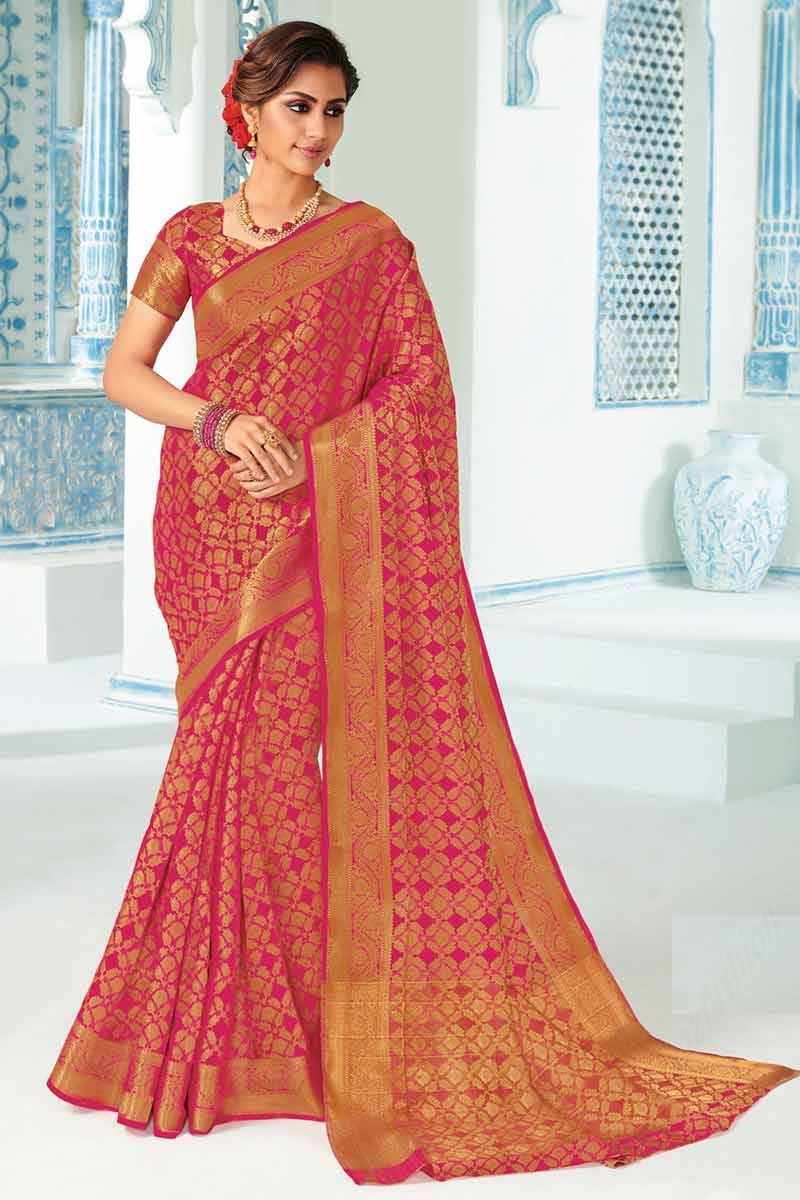 Buy Rani Pink Art Silk Saree With Art Silk Blouse Online Sarv02130 Andaaz Fashion Bridal pink pure silk sarees are unique, decorative, and desirable additions to any lady's wardrobe. rani pink art silk saree with art silk blouse