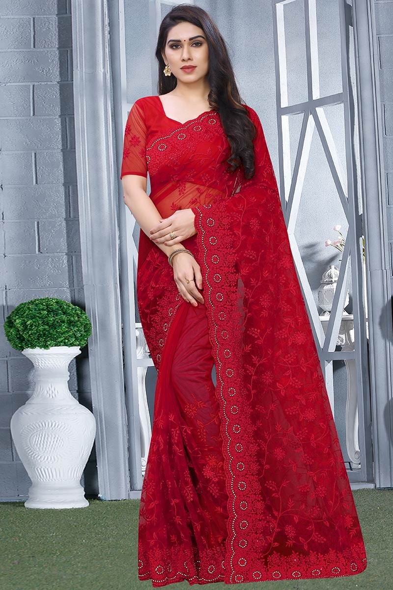 Buy Net Party Wear Saree In Red Colour Online Sarv03533 Andaaz Fashion