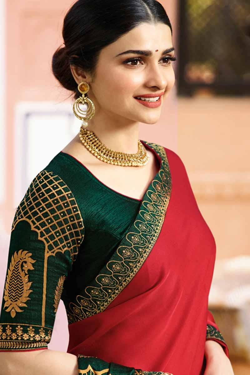 a6cd91176ba06c Buy Red Georgette Saree With Green Colour Blouse Online - SARV0482 ...