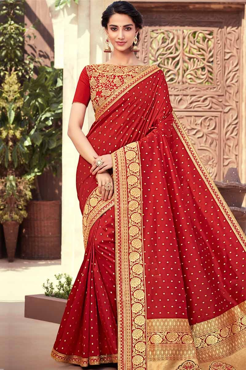 19b0b4b111 Thumbnail Image of Red Silk Saree With Raw silk Blouse Display Gallery Item  1 ...
