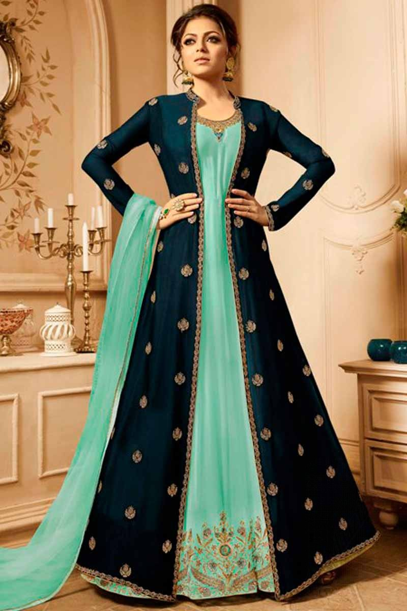 Buy Resham Work Light Sea Green Georgette Anarkali Suit Online Lstv03187 Andaaz Fashion,Mint Green Combination Color