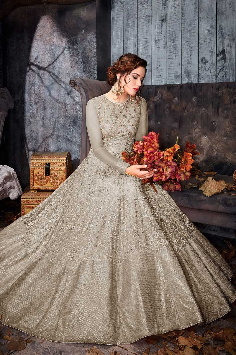 788b464592 Buy Glorious Anarkali Gown In Battleship Grey Color With Resham Work ...
