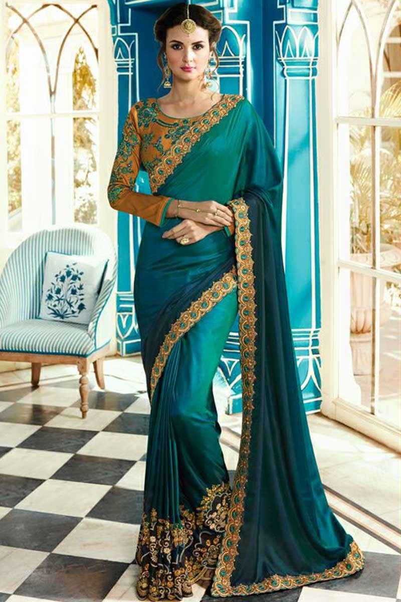 c929d4cbc9 Thumbnail Image of Peacock Blue Silk Saree With Silk Blouse Display Gallery  Item 1 ...