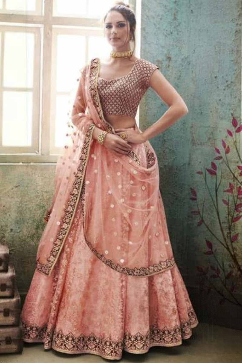 7b272adf5 ... Pink Satin Lehenga With Net Choli Display Gallery Item 1 ...