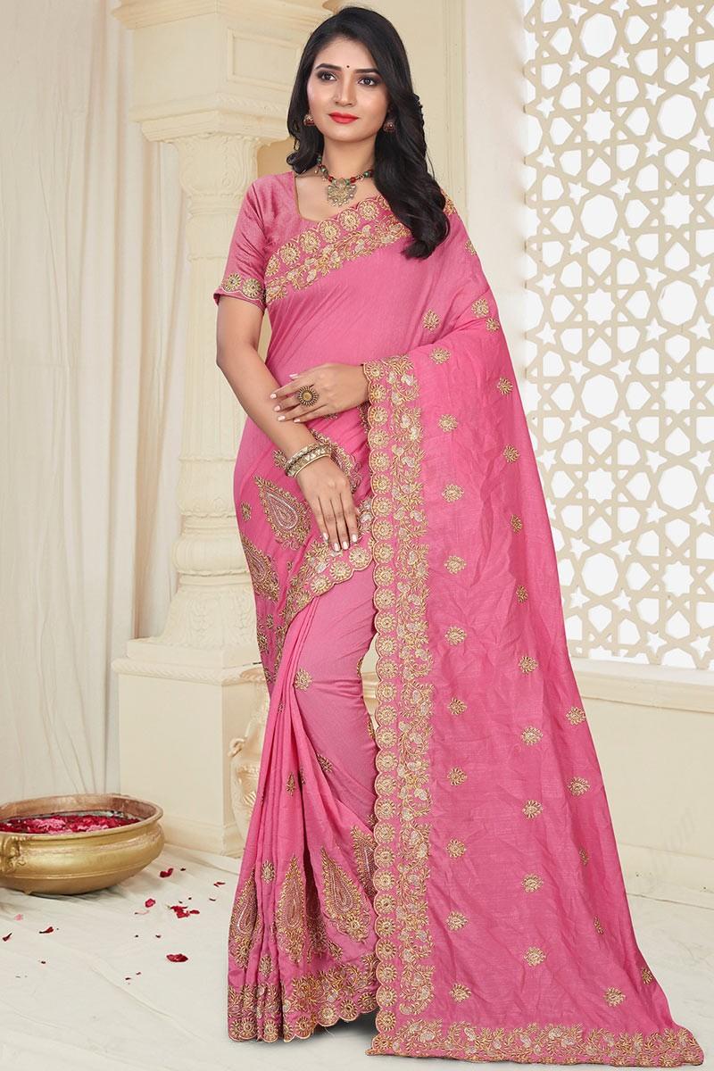 Buy Silk Party Wear Saree In Pink Colour Online Sarv03795 Andaaz Fashion