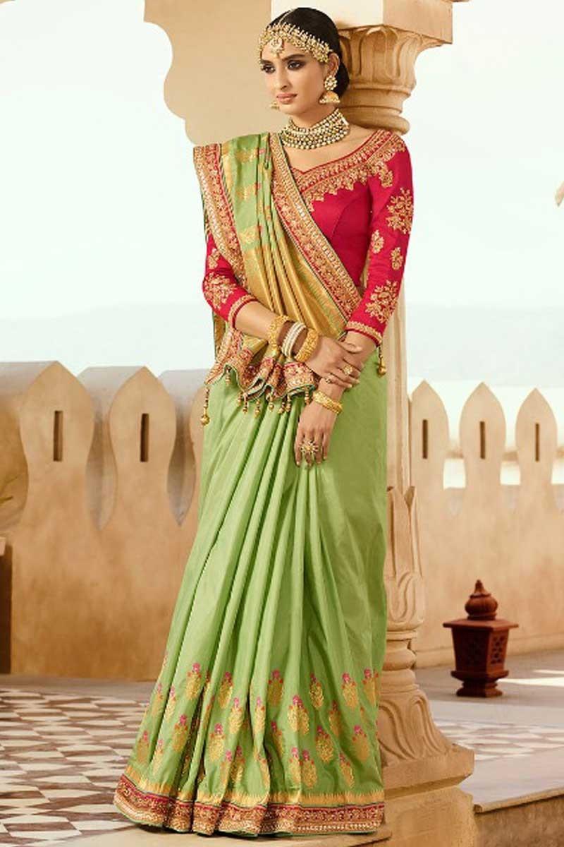 70857657eb8e3 Buy Light Green Silk And Banarasi Silk Saree With Silk Blouse Online ...