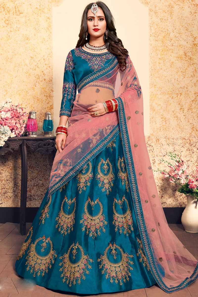b37369366 Buy Sky Blue Satin Lehenga With Satin Choli Online - LLCV00423 ...