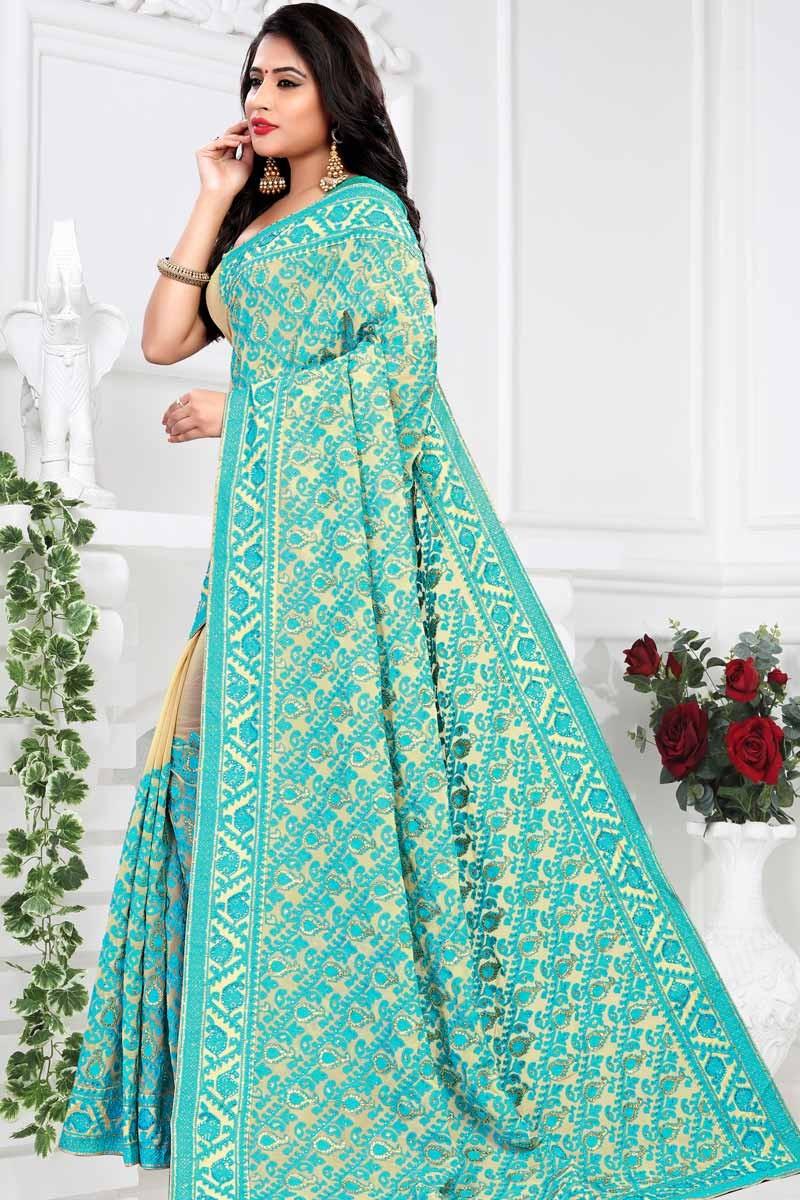 5a9ffe47d46ac Buy Saree Wedding Shop Online Sky Blue Georgette Saree For Diwali ...
