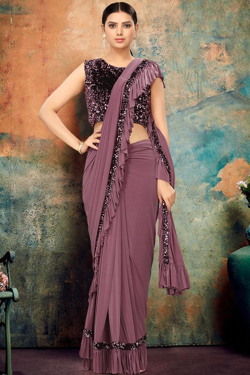 Buy Velvet Party Wear Saree With Lycra Blouse In Pale Wine Color Online Sarv05687 Andaaz Fashion
