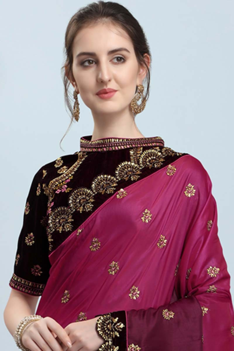 Buy Wine Silk Saree With Velvet Dark Wine Blouse Online Sarv02516 Andaaz Fashion