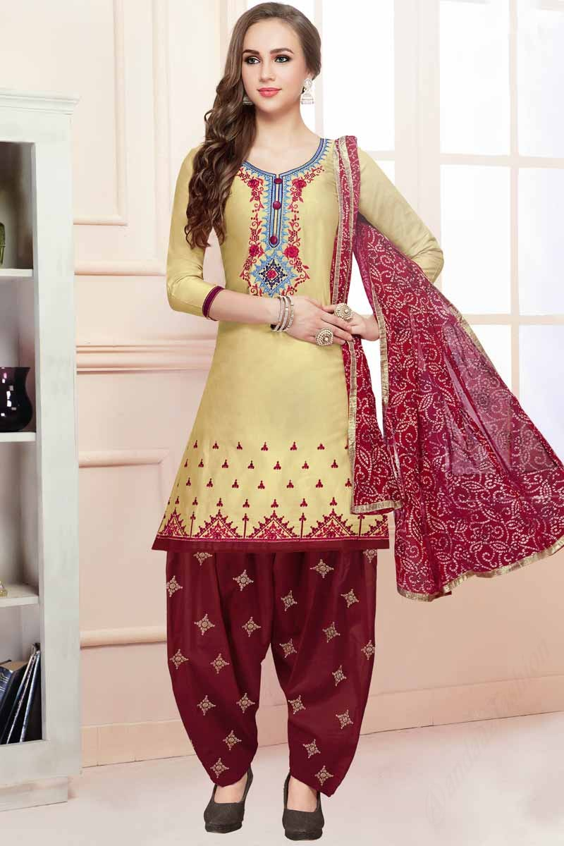 dbdec7a77a5 ... Yellow Cotton Patiala Suits With Resham Work Display Gallery Item 1 ...
