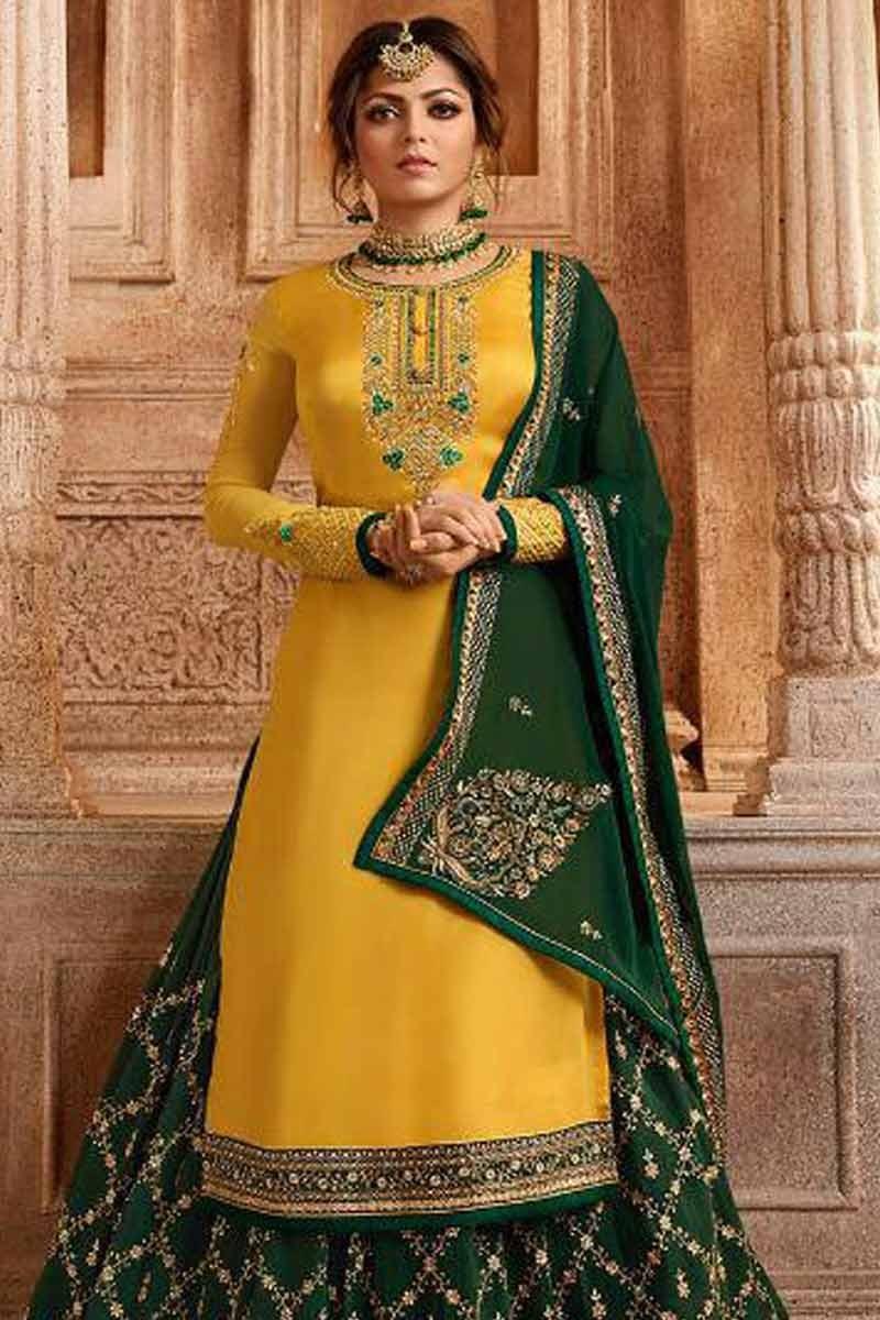 b7027e6b14 Buy Yellow With Dark Green Lehenga Choli Online - LSTV02629 | Andaaz ...