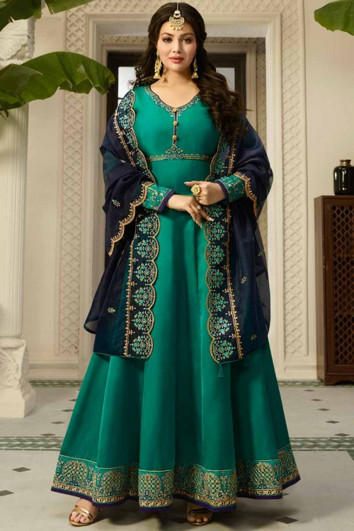 Zari Embroidered Silk Pine Green Anarkali Suit