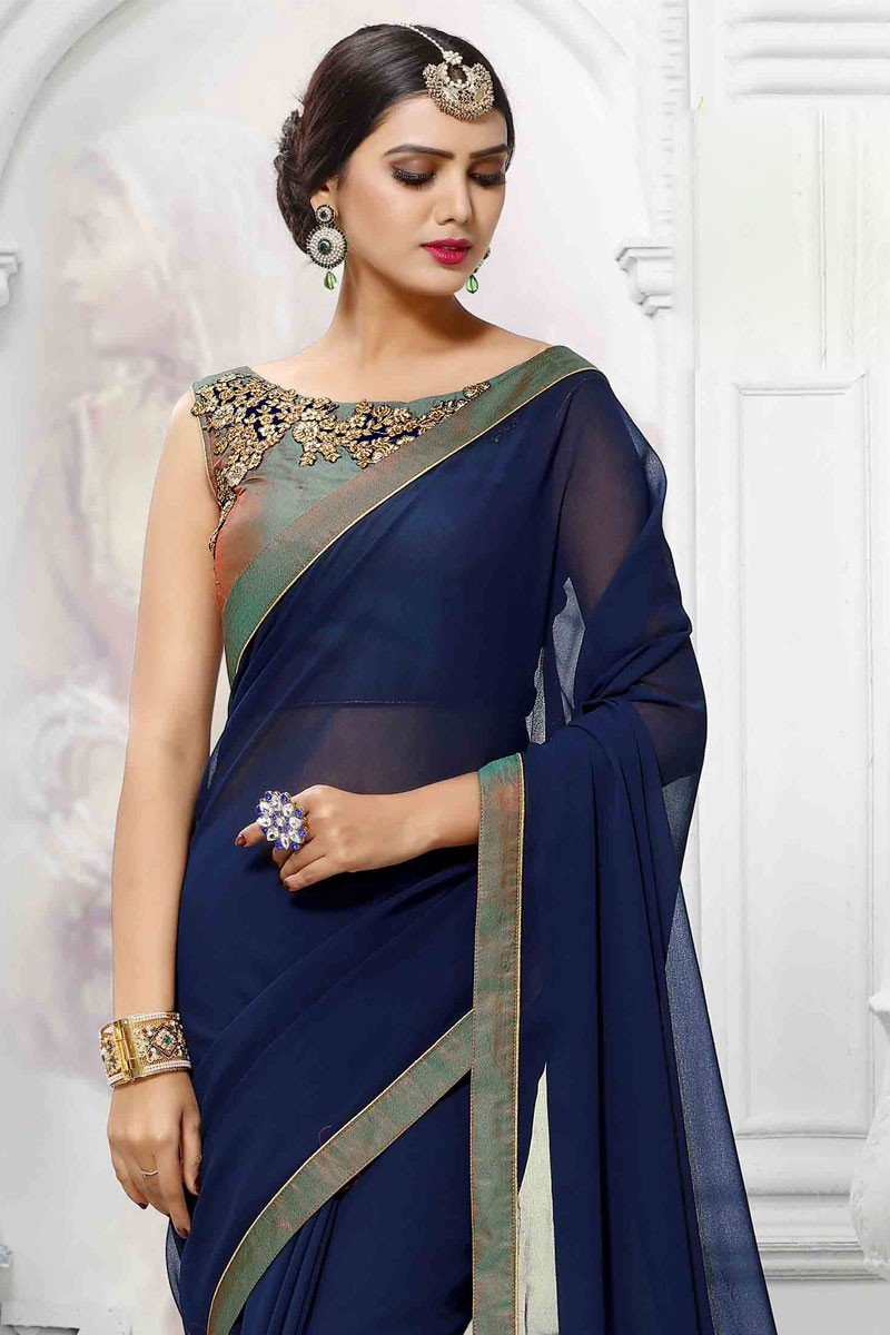 489e3108707 Designer Navy Blue Georgette Saree With Silk Blouse - Dmv11983