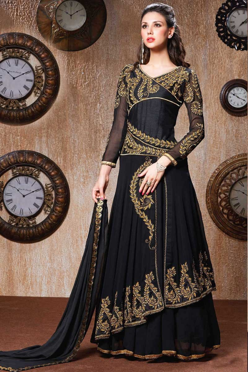 22acd9a57f Thumbnail Image of Black Georgette Churidar Suit with Chiffon Dupatta  Display Gallery Item 1 ...