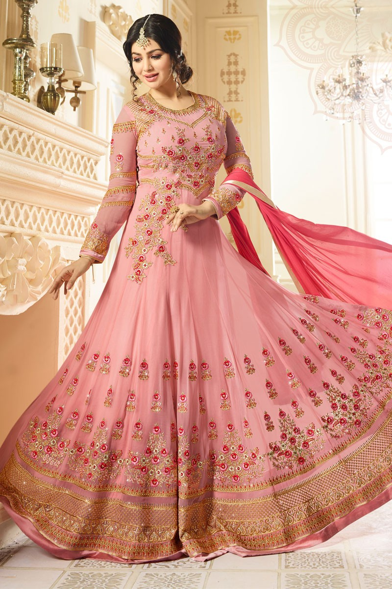 d9713a507e Buy Pink Georgette Anarkali Churidar Suit With Dupatta Online - DMV15378  |Andaaz Fashion
