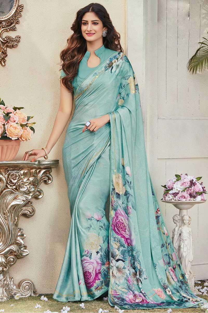 ba42555bf7a38 Turquoise Crepe Saree With Crepe Chinese Collar Blouse - mv15424