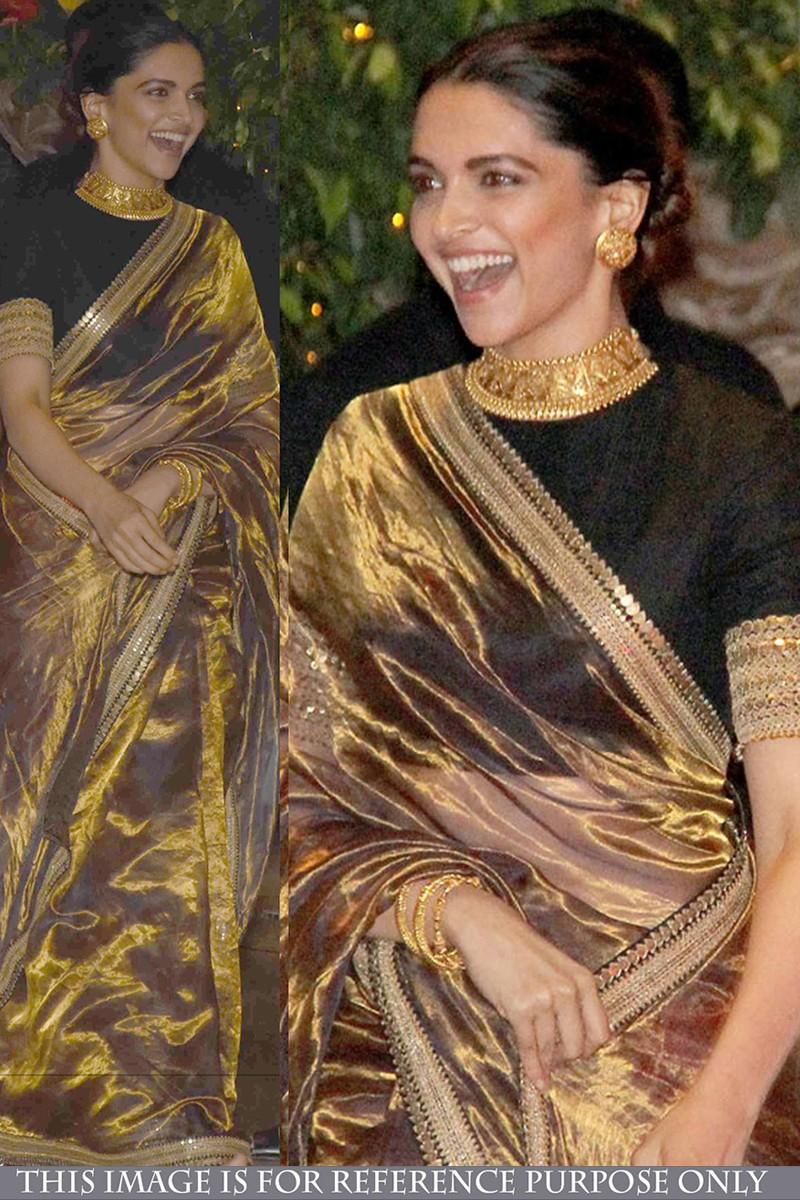 0d0bd0e631b24f Buy Deepika Padukone Beige Silk And Tissue Saree