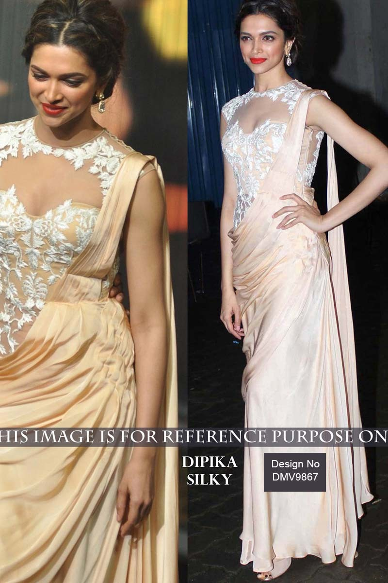 c4140204191333 Deepika Padukone Cream Georgette and Silk Saree With Net Blouse