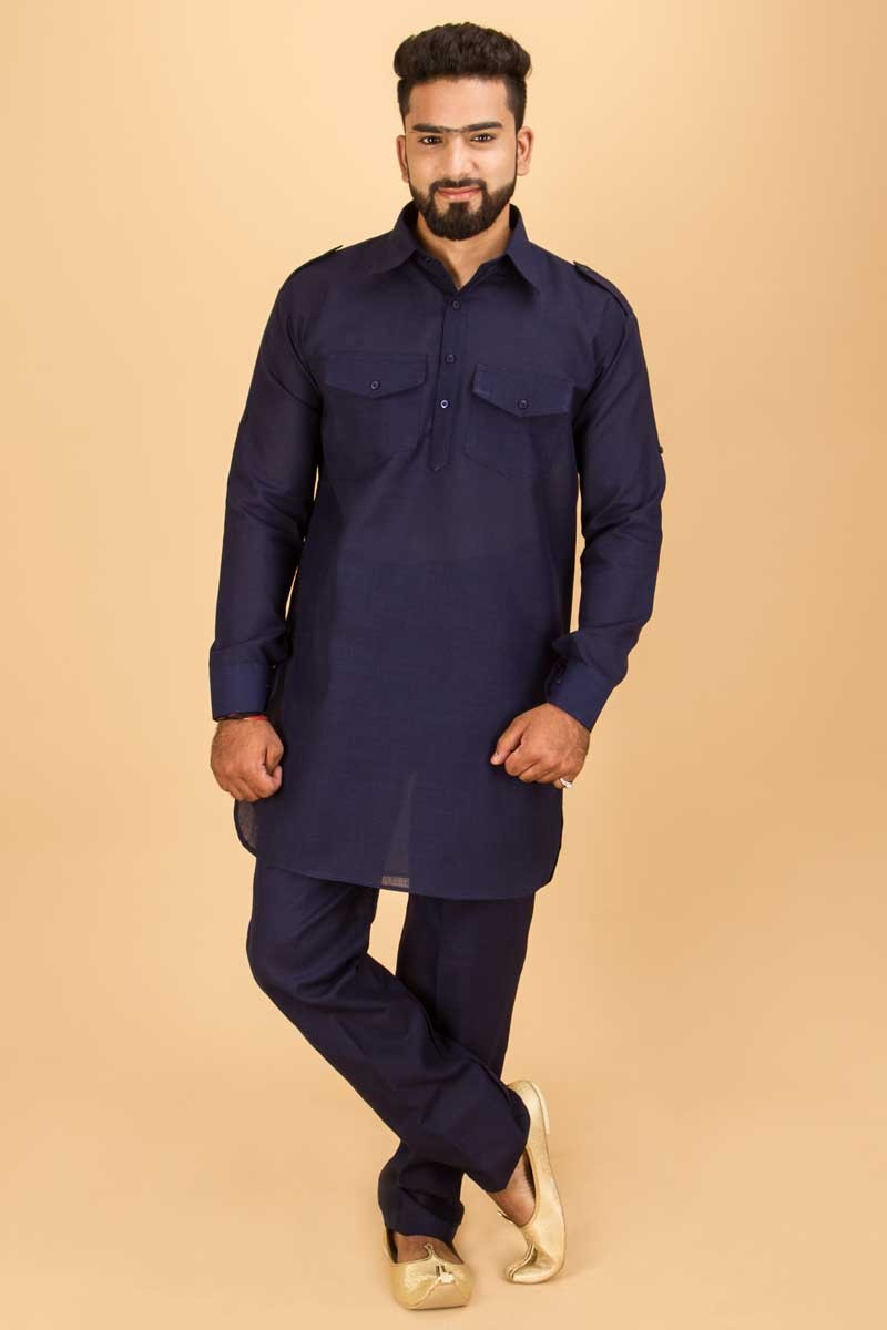 Buy Readymade Men s Navy Blue Kurta Pajama Set Online in Malaysia at Best  Price MKPA0004 349e4fc2e