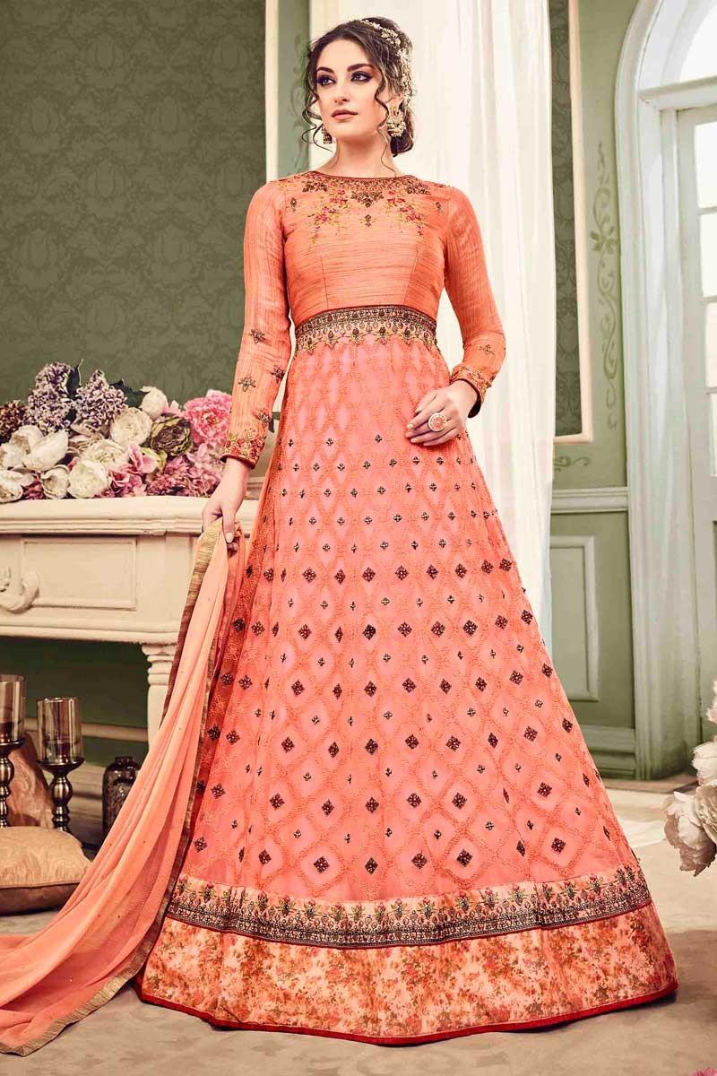 Buy Suit for Eid Net Peach Pink Anarkali Gown LSTV0019