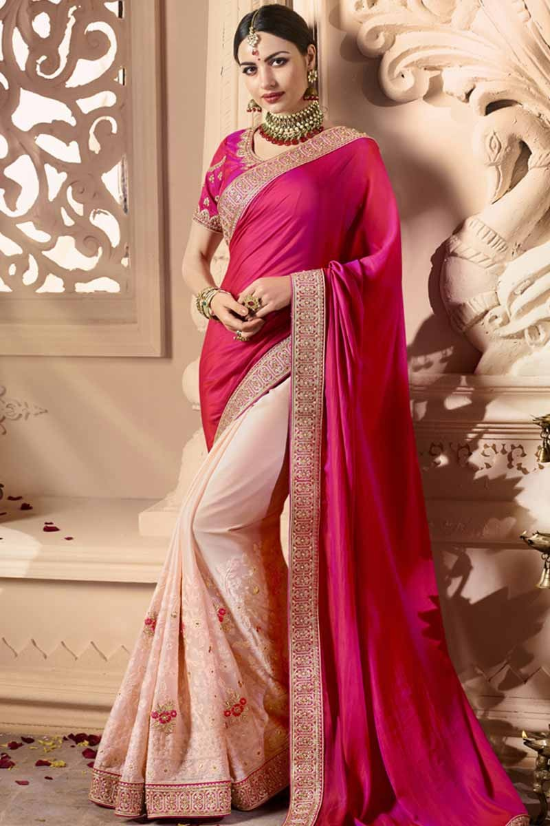 c554b9c0deb672 Buy Latest Saree Online Rani With Pink Silk Sarees U neck Online - SARV0811
