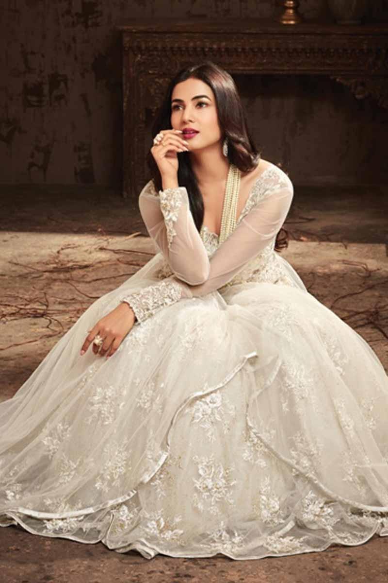 97811d97da27 Buy White Net Embroidered Anarkali Suit Online - LSTV0789